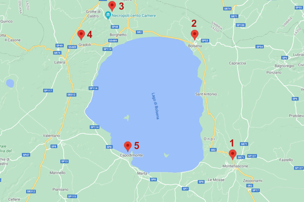 Mappa Itinerario Lago di Bolsena